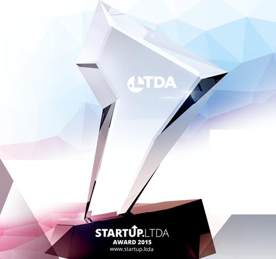 Troféu da competição Ltda Startup Award 2015